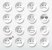 image of angry smiley  - Set of faces with various emotion expressions - JPG