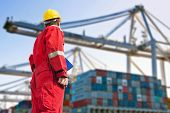 stock photo of industrial safety  - Conceptual image of international logistics - JPG