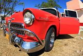 Classic Old Car Is Red Color