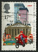 UK - CIRCA 1985: A stamp printed in UK shows image of the Datapost Motorcyclist, City of London, 350