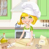Cute Blond Girl Baking Cookies On Kitchen