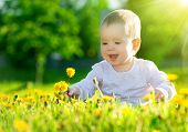 stock photo of dandelion  - Beautiful happy little baby girl sitting on a green meadow with yellow flowers dandelions on the nature in the park - JPG