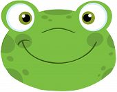stock photo of cute frog  - Cute Green Frog Smiling Head Cartoon Character - JPG