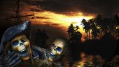image of plunder  - Pirate skeleton in the caribbeans - JPG