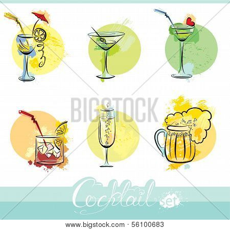 Set Of Alkohol Drinks Images In Grunge Style. Calligraphy Elements For Cafe Or Restaurant Design.