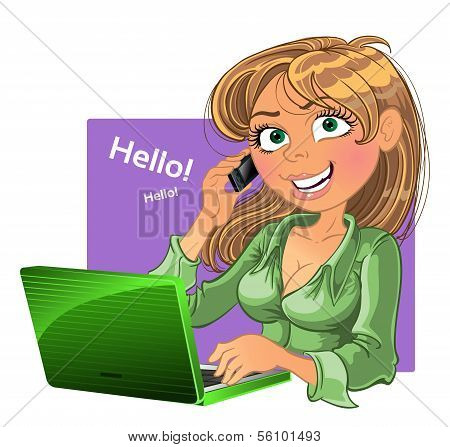 Blond woman with phone and laptop