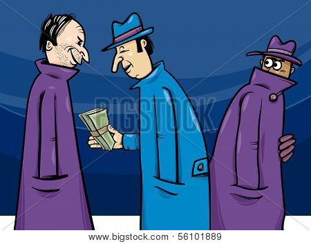 Crime Or Corruption Cartoon Illustration