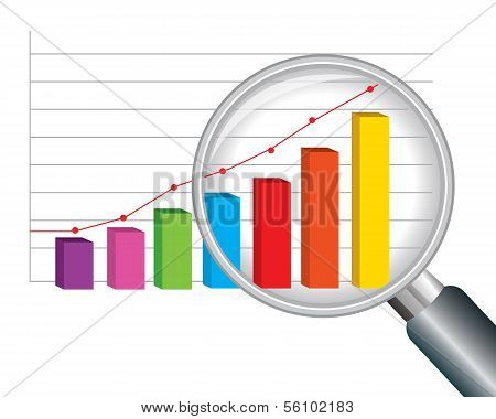 zoom magnifying glass and colorful graph.