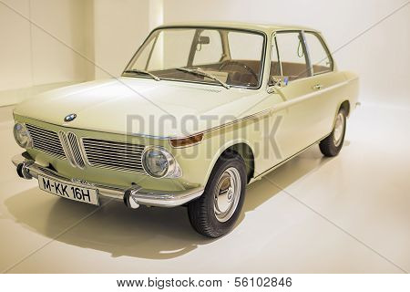 MUNICH, GERMANY - JUNE 17, 2012: BMW 1600 class coupe automobile on Stand in BMW Museum in June 17th
