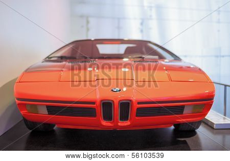 MUNICH, GERMANY - JUNE 17, 2012: Bmw's Unique M1 Sportcar Demonstrating On Stand In Bmw Museum in Ju