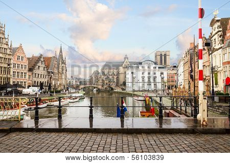 Graslei harbor , Ghent