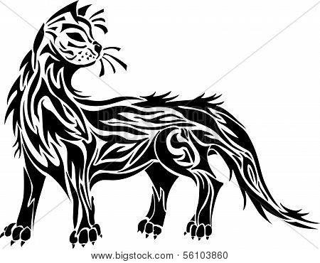 Decorative black cat ornamen on white background