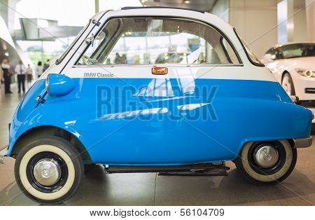 MUNICH, GERMANY - JUNE 17, 2012: Bmw Isetta Small Car On Show In Bmw Museum  on June 17th , 2012 in