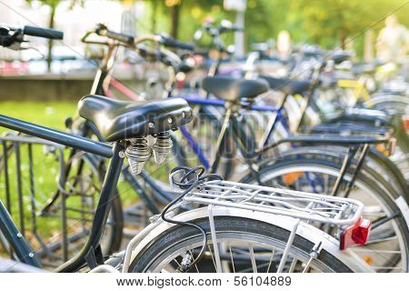 Row Of Parked Color Bicycles Standing On  Street