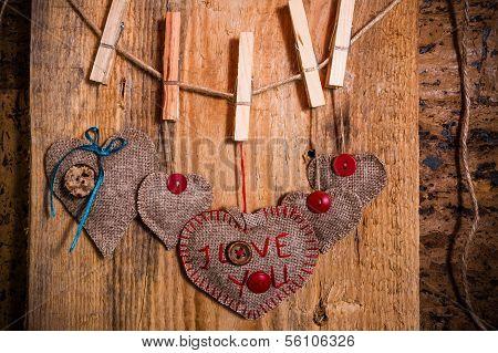 Valentine Background Hand-sewn Heart