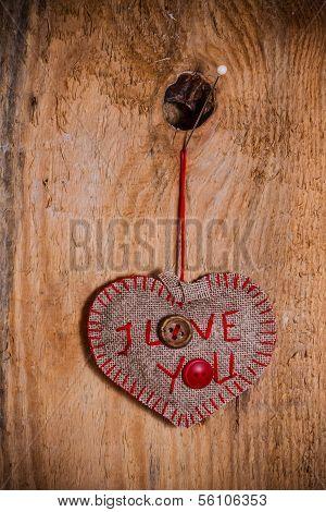 San Valentín fondo corazón cosida a mano