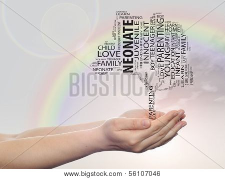 Concept or conceptual black neonate education text word cloud or tagcloud as a tree on man or woman hand on rainbow sky  background