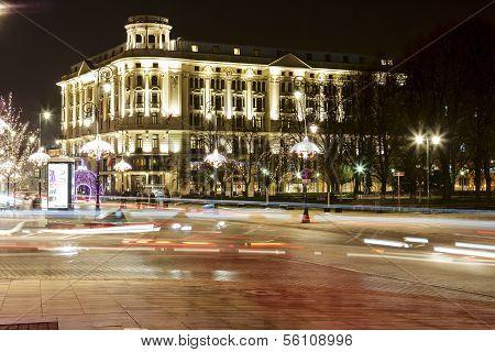 Night Illumination Of The Bristol Hotel In Warsaw