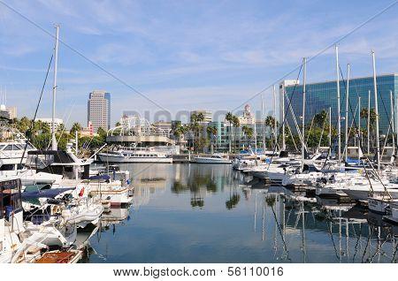 LONG BEACH, CA - September 21, 2012:  Long Beach Marina and city skyline, Long Beach, California. Long Beach is a popular tourist destination.