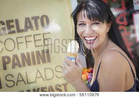 Pretty Italian Woman Enjoying Her Gelato at the Street Market.