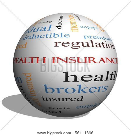 Health Insurance Word Cloud Concept On A 3D Sphere
