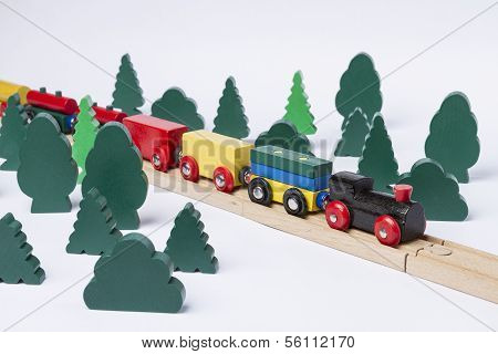 Fast Train Driving Through Small Forest