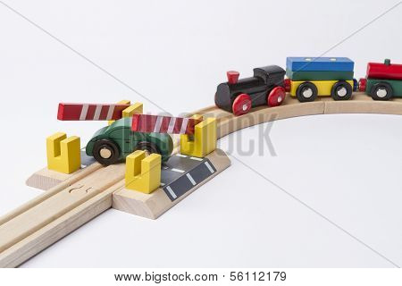 Car On Crossing With Train Coming