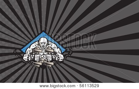 Strongman With Dumbbell In Chains