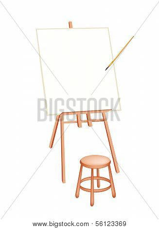 Wooden Artist Easel On White Background