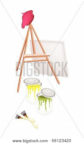 Easel And Paint Cans With Brush And Beret