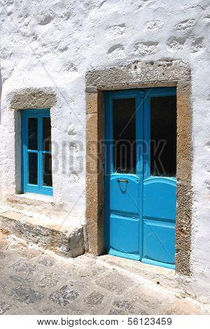 Door and window in blue