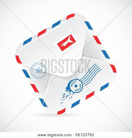 Airmail Realistic Paper Envelope.