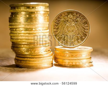 Twenty Deutsch Mark gold coins