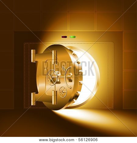 Light half-open door safe gold