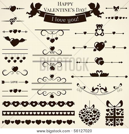 Collection Of Love Design Elements. Vector Illustration.