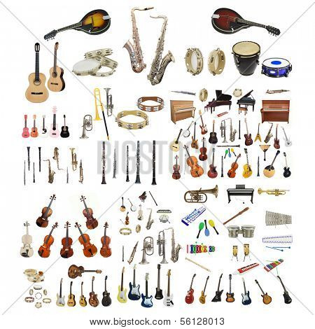 Different music instruments under the white background