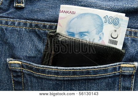 Wallet pocket with turkish lira