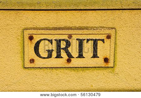 Grit container extreme closeup