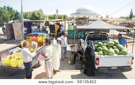 Straßenmarkt In Bir Al Huffay