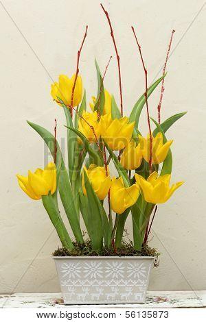 Floral Arrangement Of Yellow Tulips