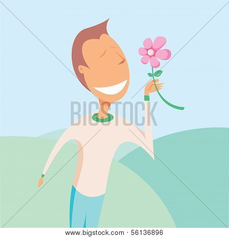 Sensible Man Smelling Flower