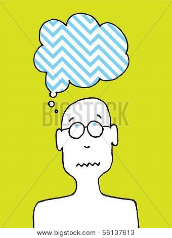 Worried Person or Cartoon Disturbed Thoughts
