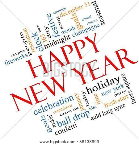 Happy New Year Angled Word Cloud Concept