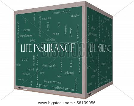 Life Insurance Word Cloud Concept On A 3D Cube Blackboard