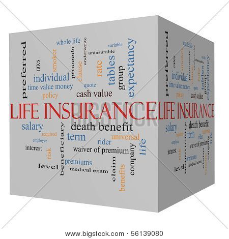 Life Insurance Word Cloud Concept On A 3D Cube