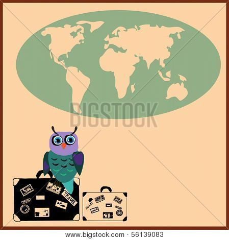 Cute Owl with suitcases in cartoon stile, vector illustration to the concept of tourism. Globe siluet in the background.