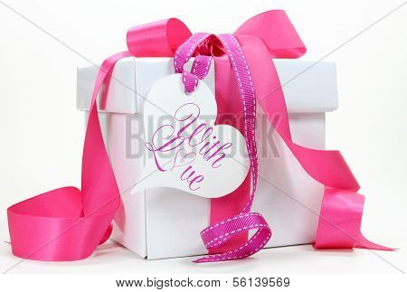 Beautiful Pink And White Gift Box Present For Christmas, Valentine, Birthday, Wedding Or Mothers Day