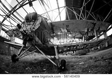 The Broken Down Remains Of An Old Abandoned Navy Plane