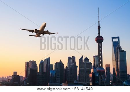 Modern City Skyline With Airplane