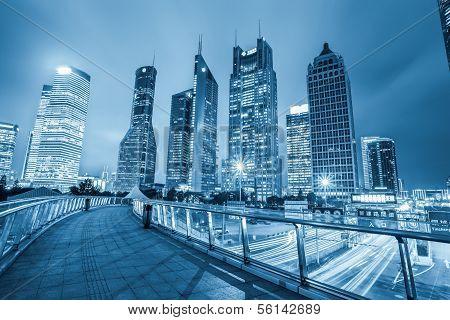 Night View Of Shanghai Financial Center Skyline
